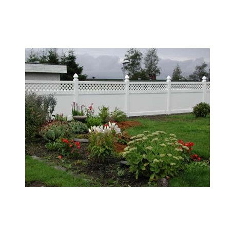 Pack of 1 White Privacy Fence with Lattice - 8ft Wide and 6ft High