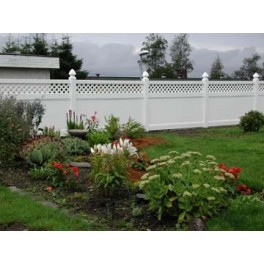 Pack of 1 - White Privacy Fence with Lattice - 8ft Wide and 6ft High