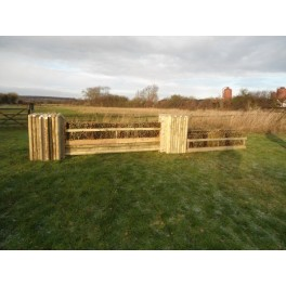 SET 1c - 2 Pillars and Brush Filler, 3 System Poles + 8ft x 2ft Double Brush Fence Box Set - 8 ft