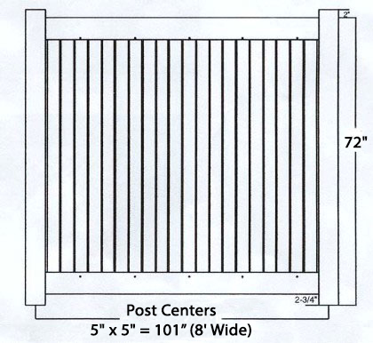 White Privacy Fence TG - 8ft Wide and 6ft High